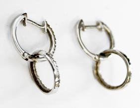 PAIR 14K WHITE GOLD PIERCED DOUBLE HOOP EARRINGS SET