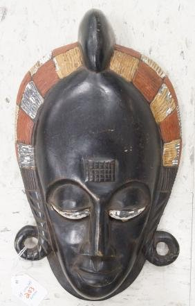 BAULE, IVORY COAST, CARVED AND PAINTED MASK OF A KING.
