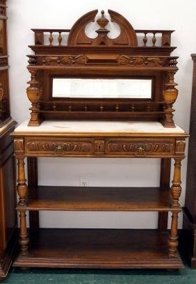 VICTORIAN CARVED WALNUT SERVER WITH ONYX TOP, 19TH