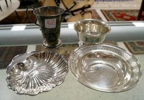 LOT (4) STERLING INCLUDING CREAMER, (2) SMALL BOWLS AND