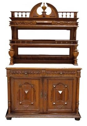 VICTORIAN CARVED WALNUT SIDE BOARD WITH ONYX TOP, 19TH