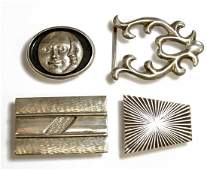 LOT 4 RETROTECH STERLING BELT BUCKLES 1SIGNED