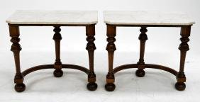 PAIR CHARLES II STYLE CARVED OAK MARBLE-TOP STANDS.