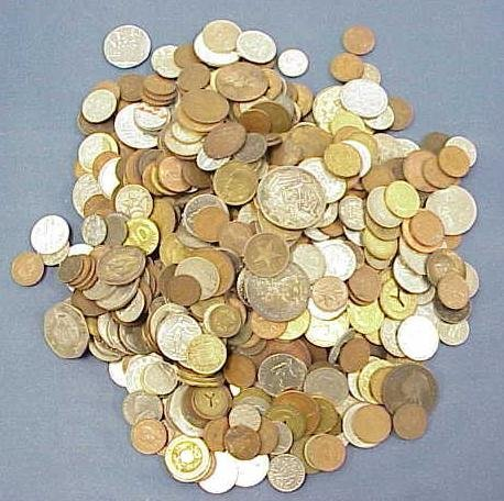 1002: BAG ASSORTED FOREIGN COINS, 19/20THC