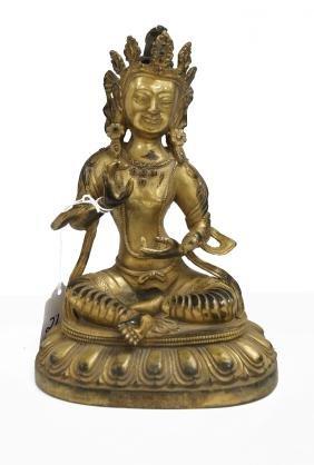 """Sino-tibetan Gilt Bronze Seated Buddha. Height 8"""""""