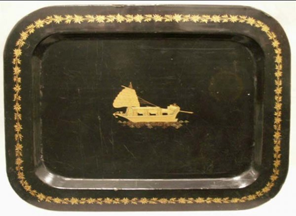 1006: JAPANESE BLACK LACQUER GILT DECORATED TRAY, MEIJI