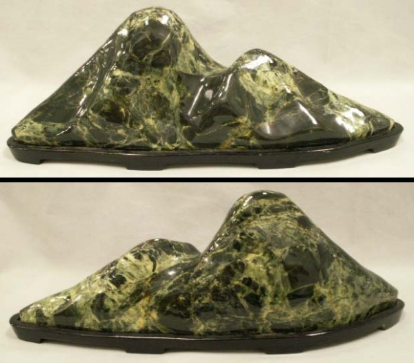 1010: CHINESE CARVED GREENSTONE SCHOLAR'S MOUNTAIN