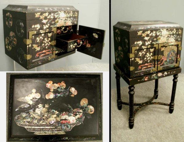 1015: JAPANESE MOTHER-OF-PEARL INLAID SEWING CABINET