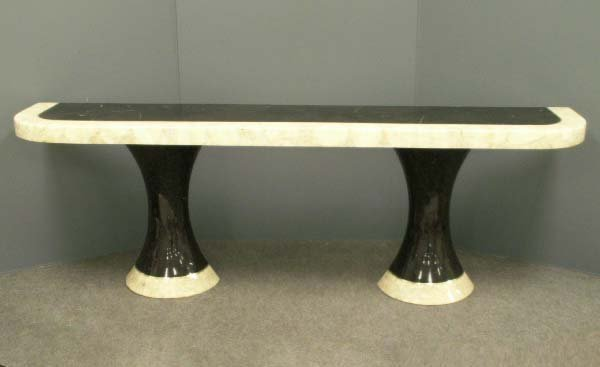 1023: DESIGNER MODERN ONYX/MARBLE CONSOLE TABLE