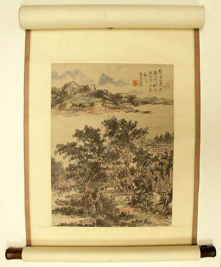 1083: CHINESE SCROLL PAINTING, LANDSCAPE, SIGNED