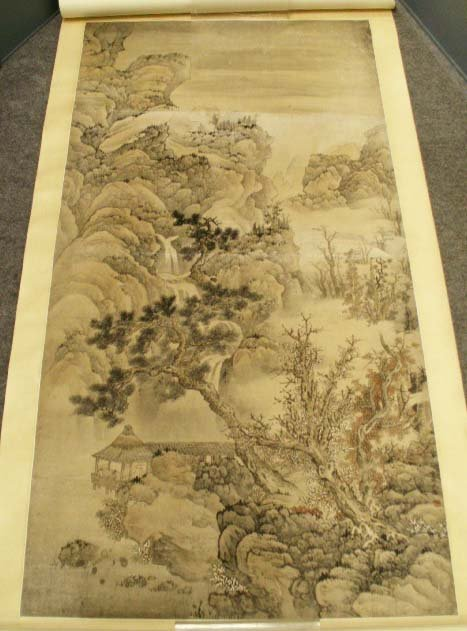 1281: CHINESE SCROLL PAINTING, LANDSCAPE, SIGNED/SEALED