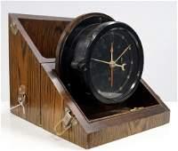 VINTAGE US ARMY BAKELITE CLOCK WITH OAK CASE, MARKED