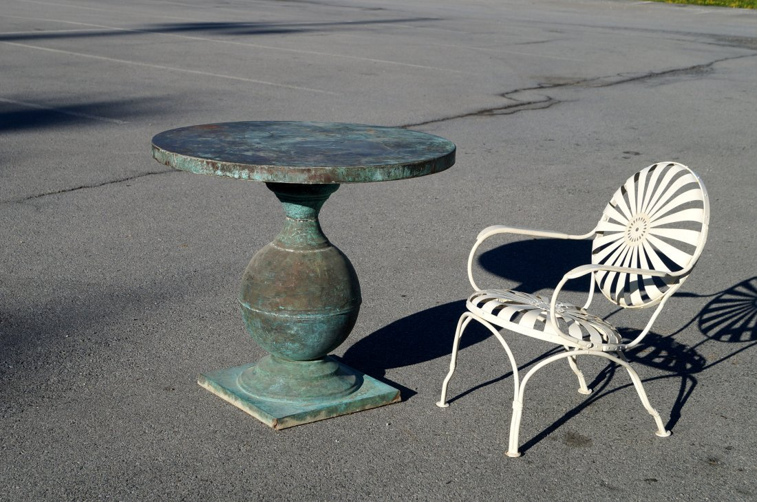 CONTINENTAL PATINATED COPPER GARDEN TABLE