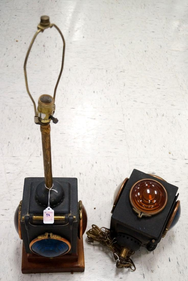 LOT (2) VINTAGE CAST IRON RR SIGNALS, MOUNTED AS TABLE