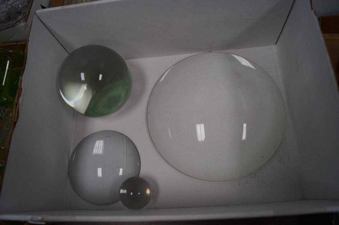 LOT (4) GLASS BALLS AND LENSES