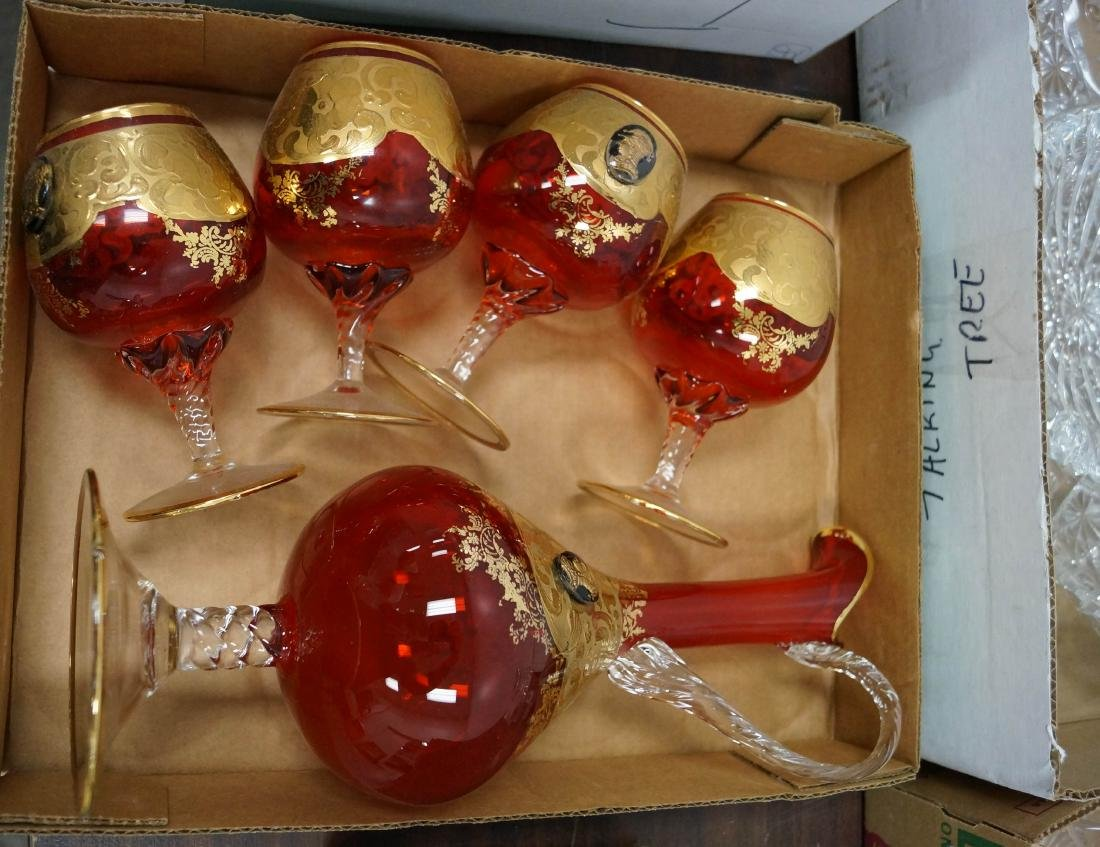 SET (5) BOHEMIAN RUBY GLASS AND GILT WINE SET INCLUDING