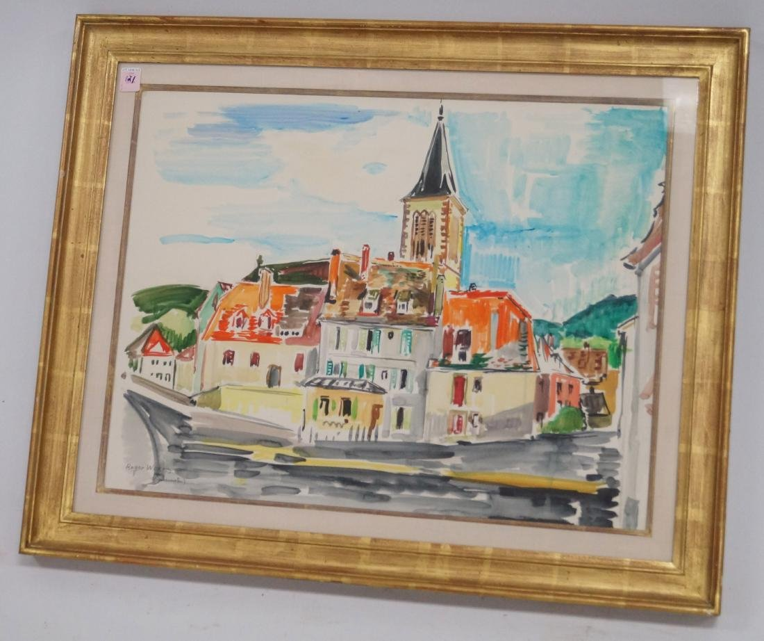 """ROGER WORMS (FRENCH 1907-1980), WATERCOLOR, """"MUNSTER"""","""