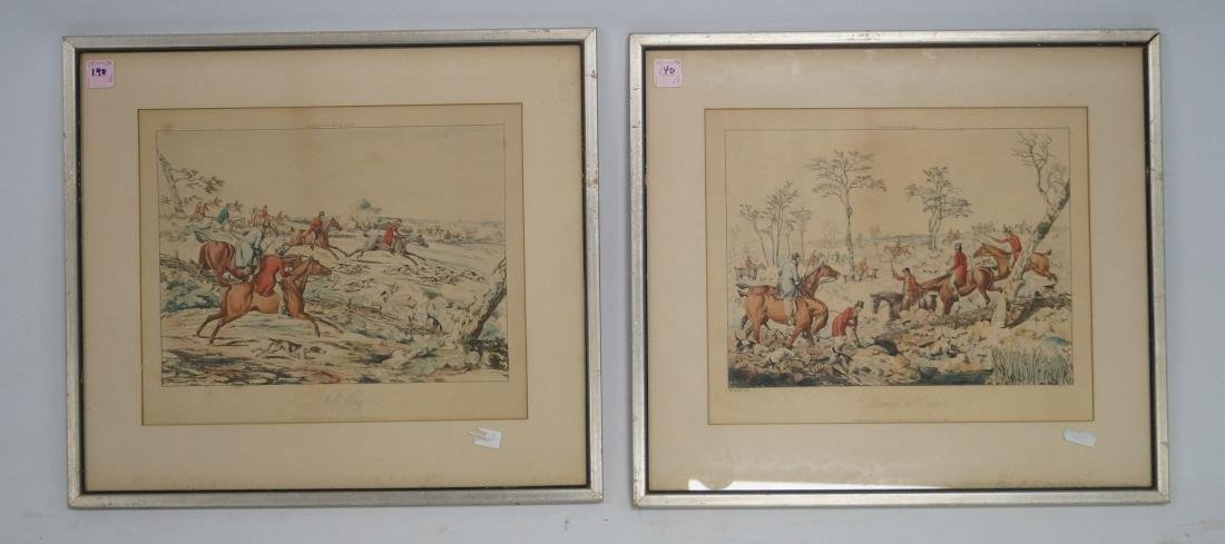 PAIR ENGLISH FOX HUNT HAND COLORED ENGRAVINGS, AFTER