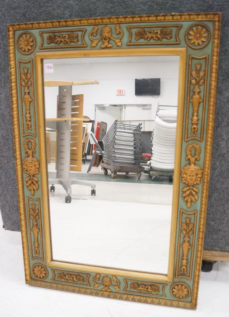 """FRENCH STYLE GILT DECORATED FRAMED MIRROR. 34 X 23 1/2"""""""