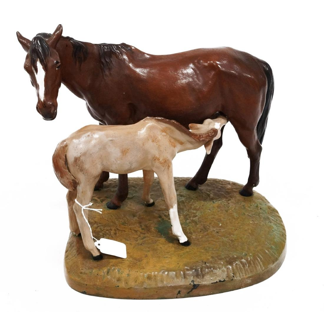 CAST IRON PAINTED SCULPTURE, MARE/FOAL, SIGNED. HEIGHT