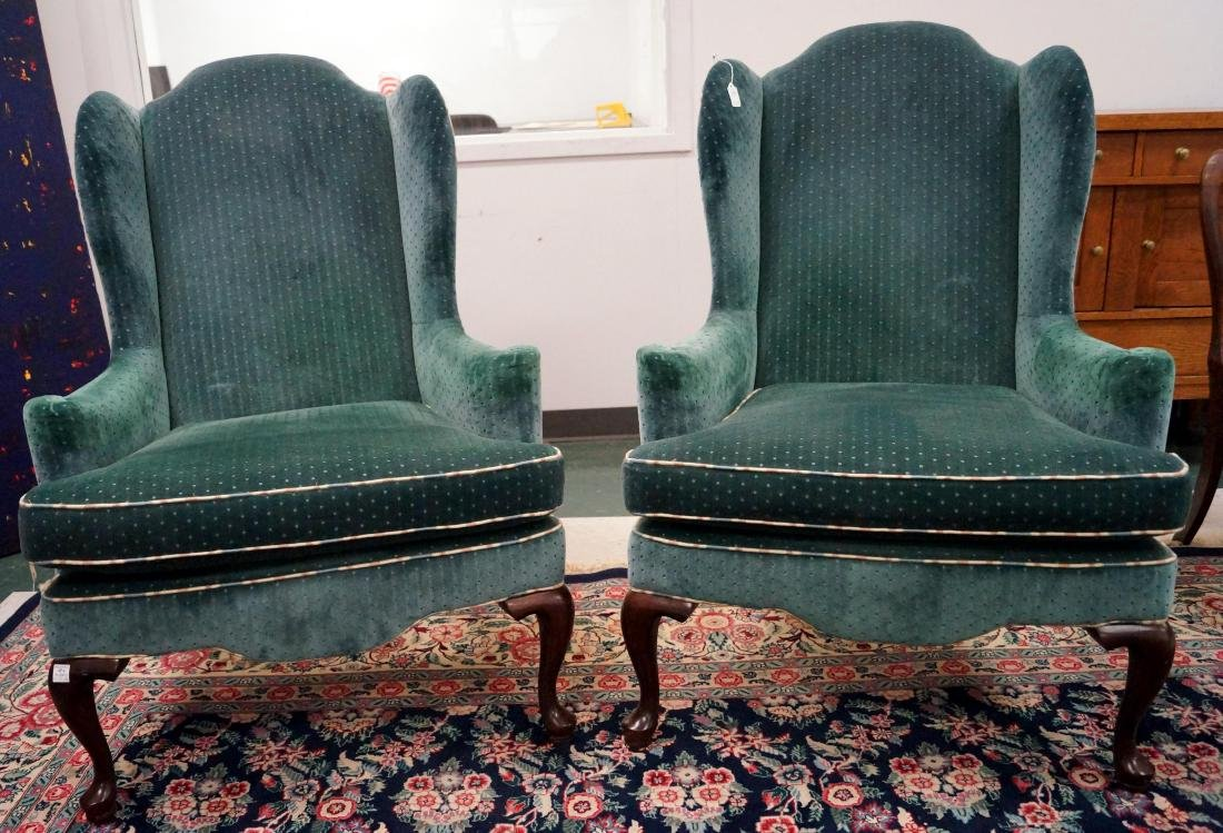 PAIR ETHAN ALLEN WING BACK ARMCHAIRS