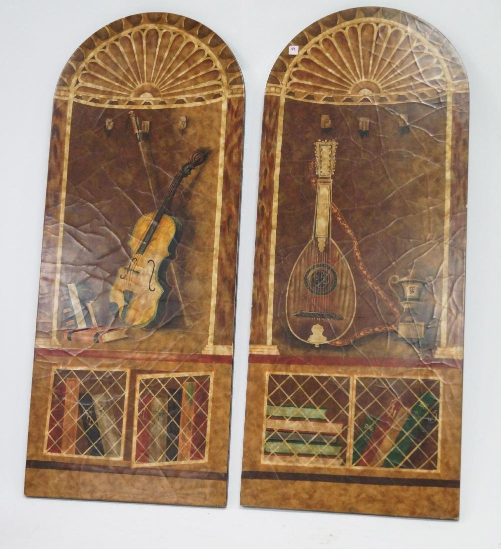 PAIR TROMPE-L'OEIL ARCHED PANELS, MUSIC ROOM. HEIGHT