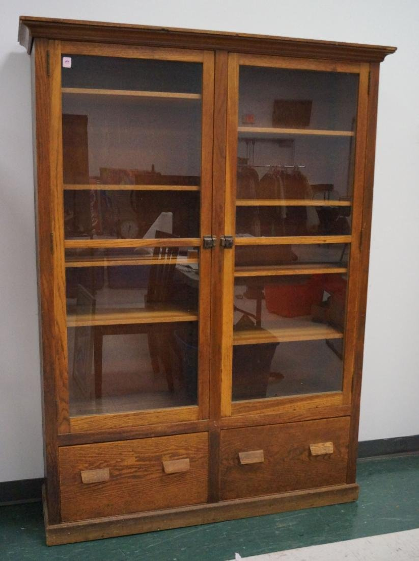 """VINTAGE OAK-BOOKCASE/COLLECTOR CABINET. HEIGHT 72"""";"""