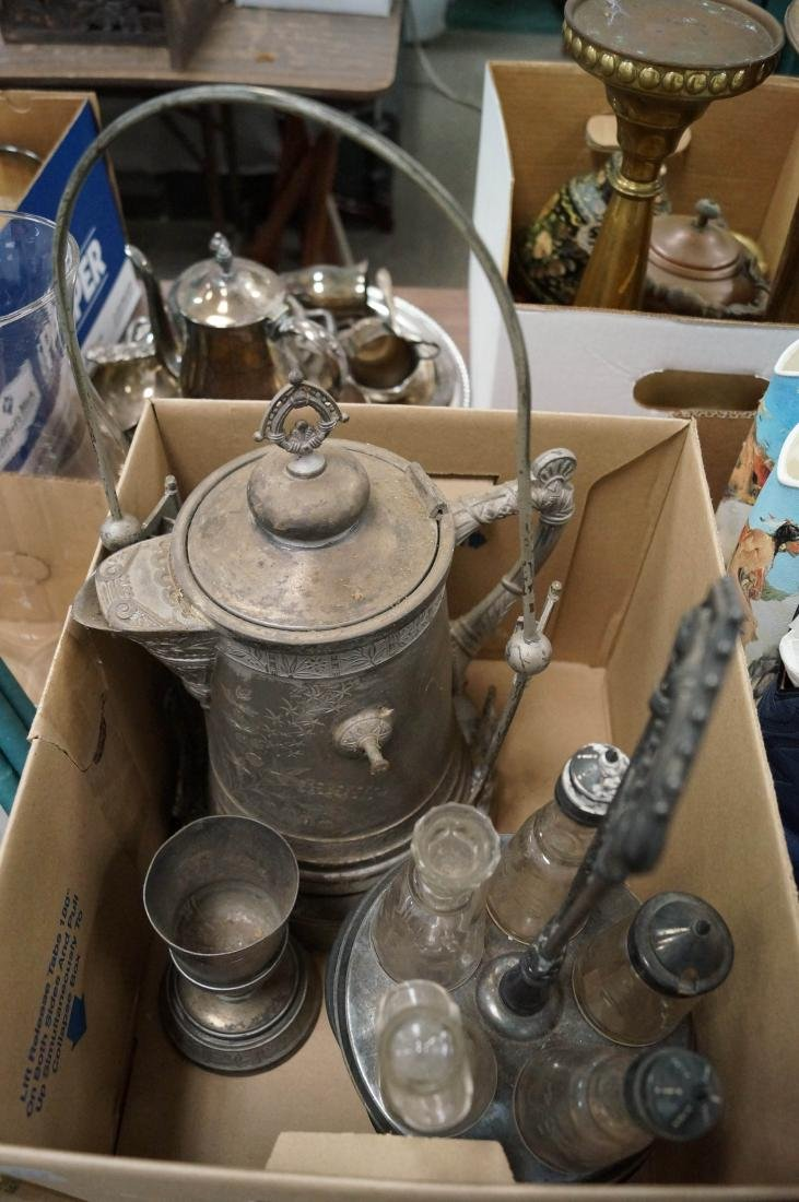 BOX LOT SILVER PLATE INCLUDING PAIRPOINT ICE WATER