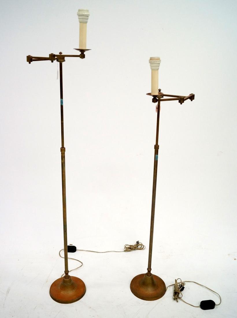 "PAIR BRASS ADJUSTABLE ARM FLOOR LAMP. HEIGHT 53"""