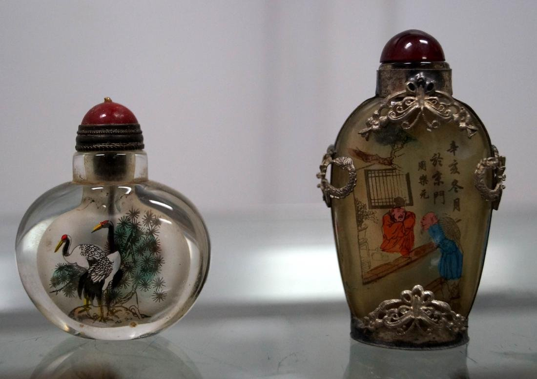 LOT (2) CHINESE DECORATED PEKING GLASS SNUFF BOTTLES.