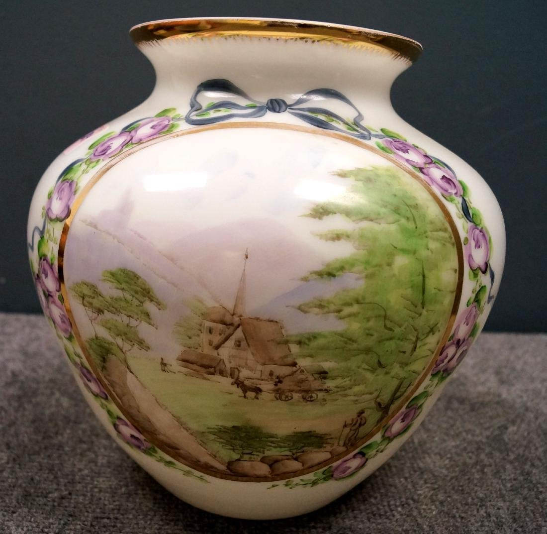 """HAND PAINTED OPALINE GLASS VASE. HEIGHT 10"""""""