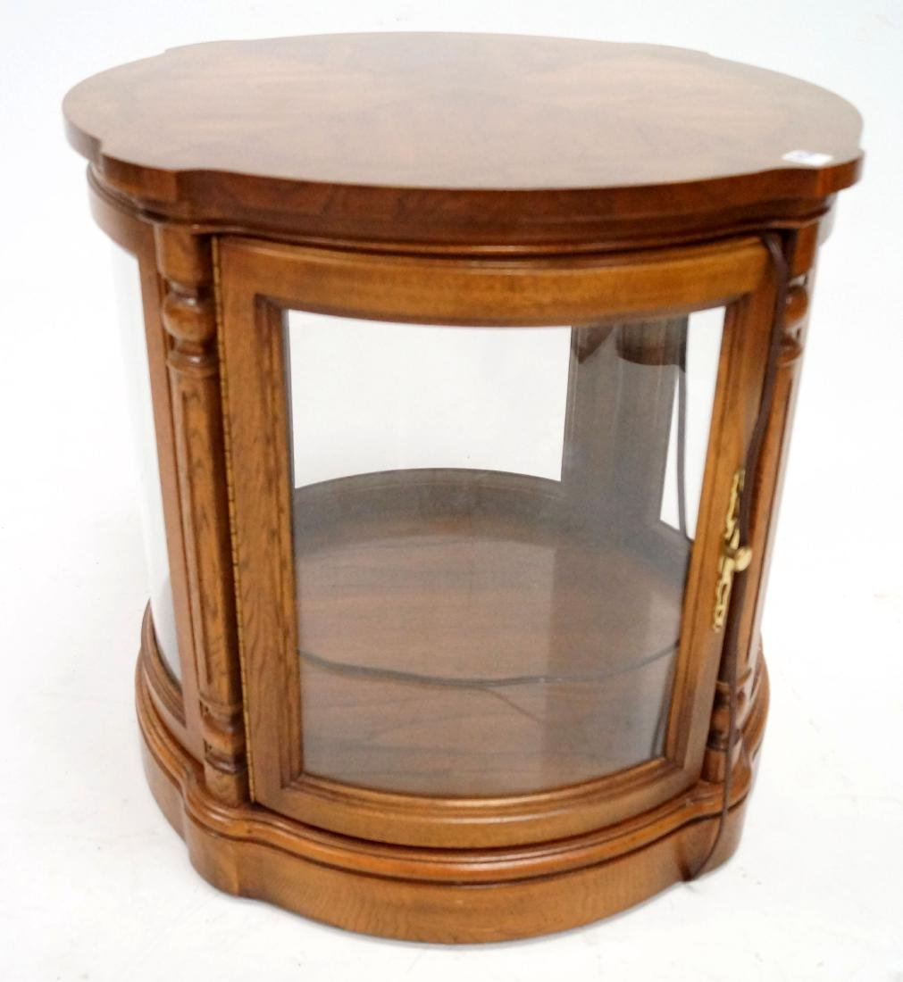 REGENCY STYLE CARVED AND INLAID MAHOGANY LIGHTED