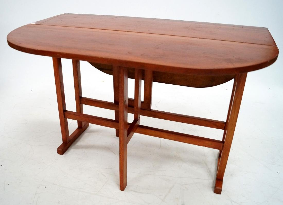 BENCH MADE CHERRY DROP-LEAF GATE LEG TABLE, 20TH