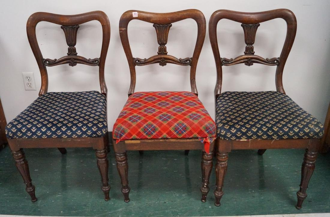 LOT (3) CARVED MAHOGANY SIDE CHAIRS WITH SLIP SEATS