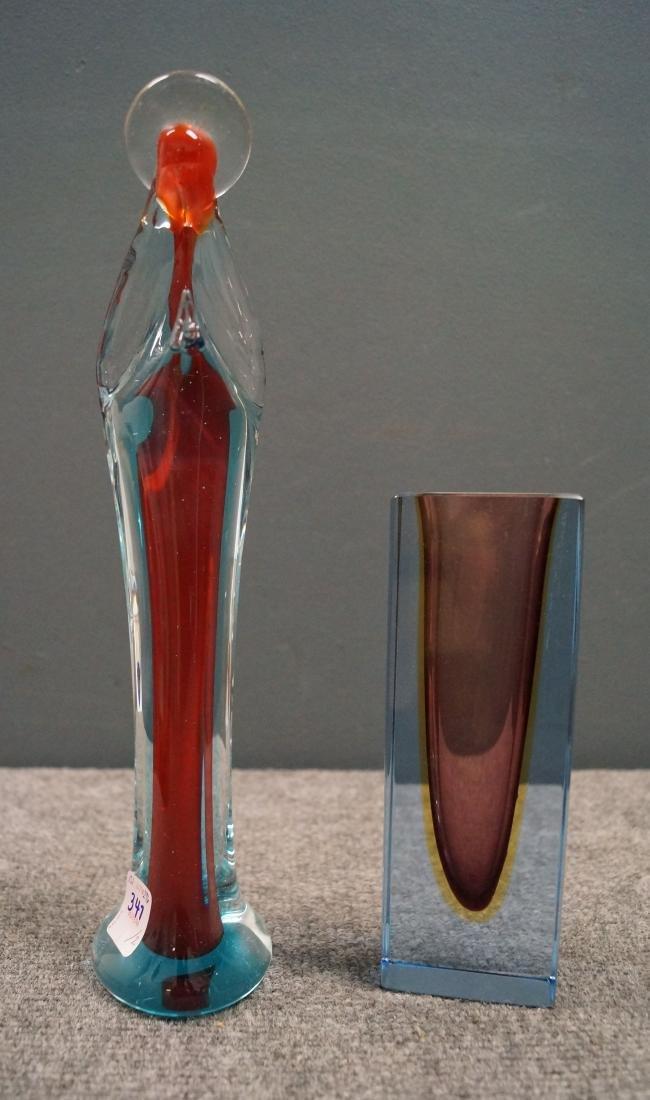 LOT (2) INCLUDING MURANO ART GLASS MADONNA, HEIGHT 12