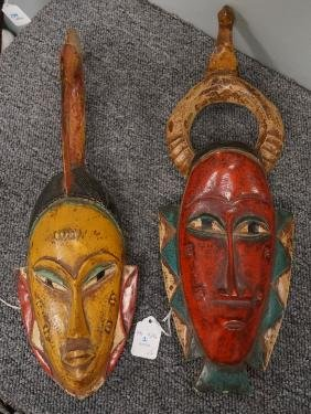 LOT (2) SENUFO, IVORY COAST, CARVED AND PAINTED MASKS.