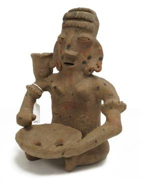 """JALISCO, PRE-COLUMBIAN POTTERY SEATED FIGURE. HEIGHT 9"""""""