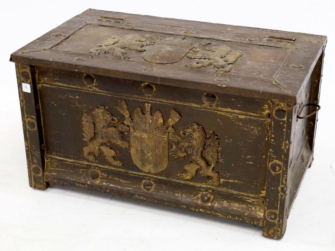 CONTINENTAL BRASS BOUND KINDLING BOX WITH ARMORIAL