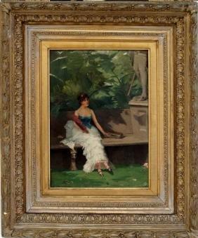 EMILE GARET (FRENCH/AMERICAN 1853-1935), OIL ON PANEL,