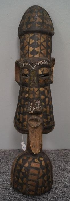 BAKUBA, D.R.C., CARVED/BRASS AND BEAD INLAID FIGURE.