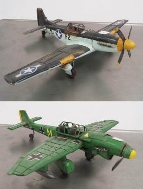 LOT (2) PAINTED METAL MODELS INCLUDING P-51 MUSTANG,