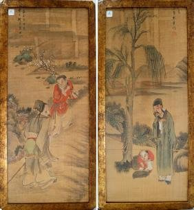 CHINESE SCHOOL (19TH CENTURY), LOT (2) WATERCOLORS,
