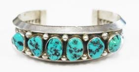 SOUTHWEST AMERICAN INDIAN STERLING AND TURQUOISE CUFF