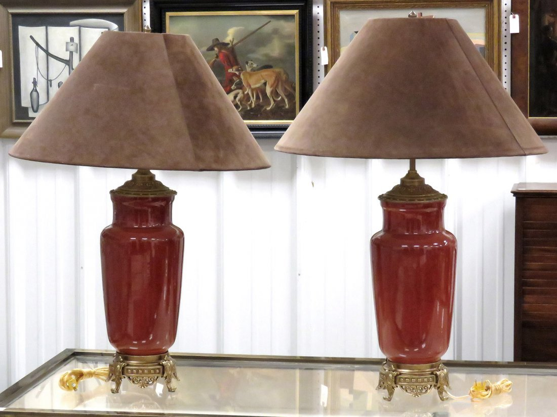 PAIR DECORATOR FRENCH STYLE FLAMBE PORCELAIN VASES,
