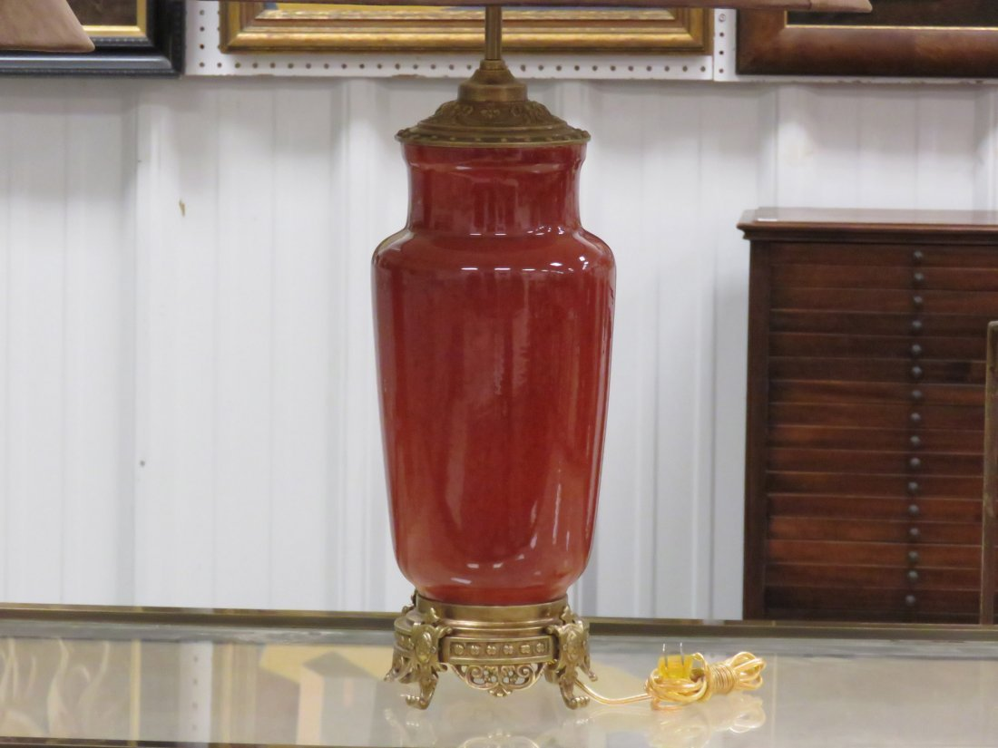PAIR DECORATOR FRENCH STYLE FLAMBE PORCELAIN VASES, - 2