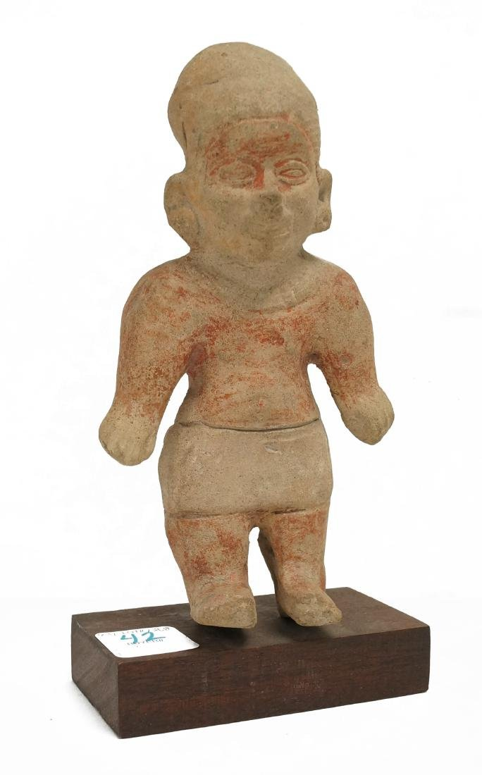 PRE-COLUMBIAN JALISCO POLYCHROME POTTERY FIGURE. HEIGHT