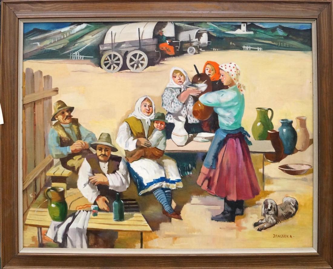 ANTAL JANCSEK (HUNGARIAN 1907-1985), OIL ON CANVAS,