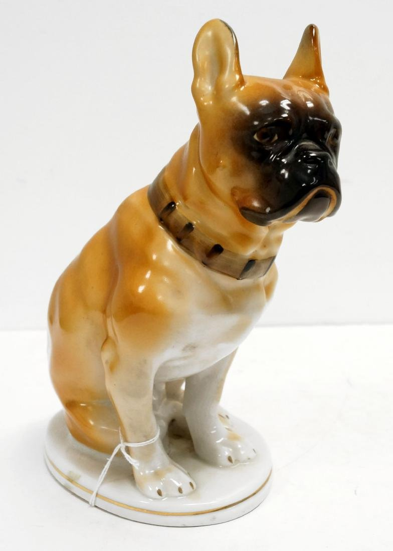 LOMONOSOV RUSSIAN DECORATED PORCELAIN SEATED BULLDOG,