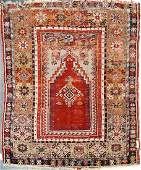 "ANTIQUE CAUCASIAN PRAYER RUG. 4'5"" X 5'6"""
