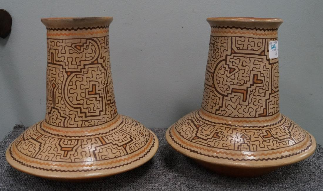 PAIR MESO-AMERICAN DECORATED POTTERY JARS. HEIGHT 9